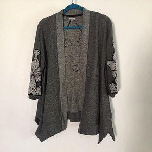 Urban outfitters beaded jacket kimono ecote grey